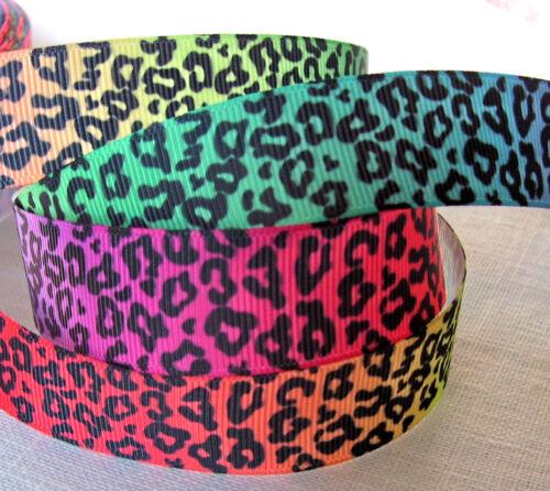 RUBAN GROS GRAIN 25 mm au mètre ANIMAL Dégradé ARC-EN-CIEL Multicolore