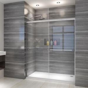 "Shower Bath Enclosures elegant 60"" semi-frameless 1/4"" glass 2 sliding shower bath door"