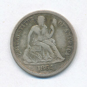 1864-S Liberty Seated  Dime - Very Fine +
