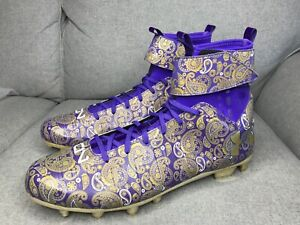 huge discount 6fdc3 72b2a Details about Under Armour Cam Newton Paisley Football Cleats Purple Gold  1289764-500 Sz 16