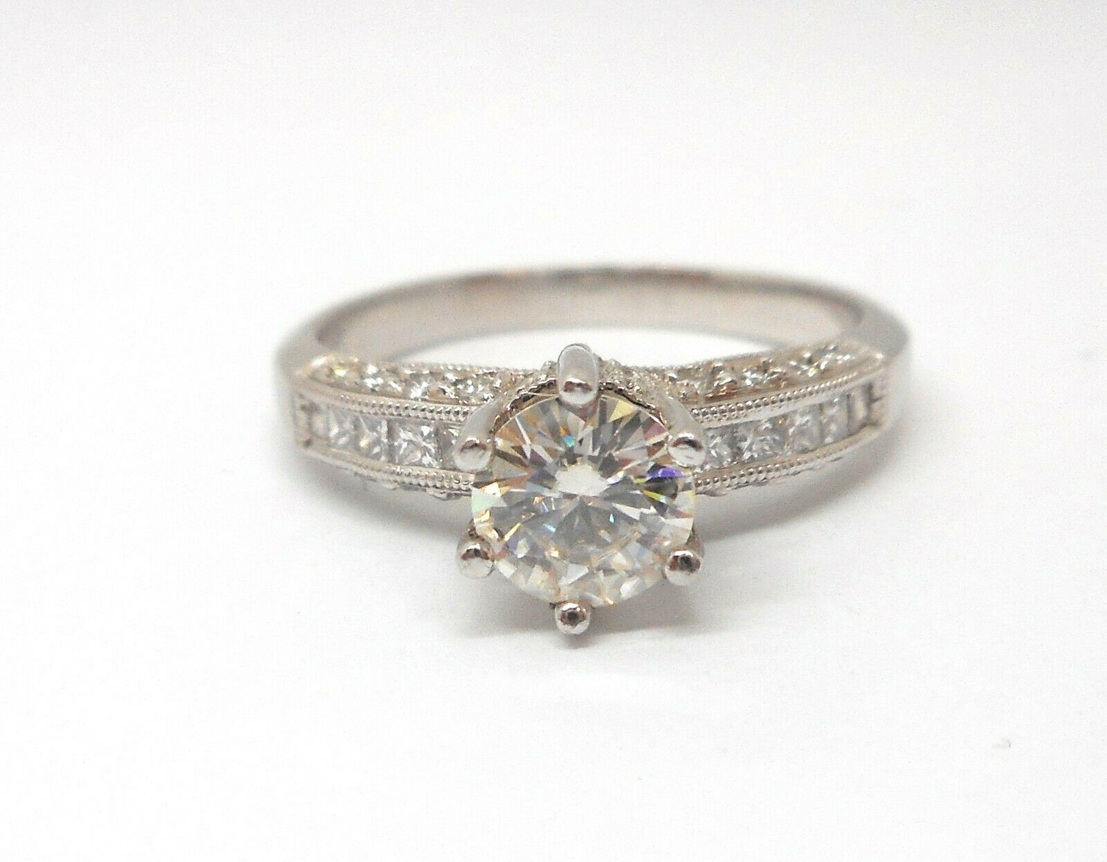 18K WHITE gold ROUND MOISSANITE AND DIAMOND ENGAGEMENT RING