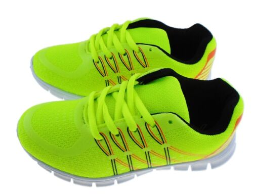 Boys XWalk Neon Yellow Florescent Trainers Gym Shoes  Sizes UK 12-5