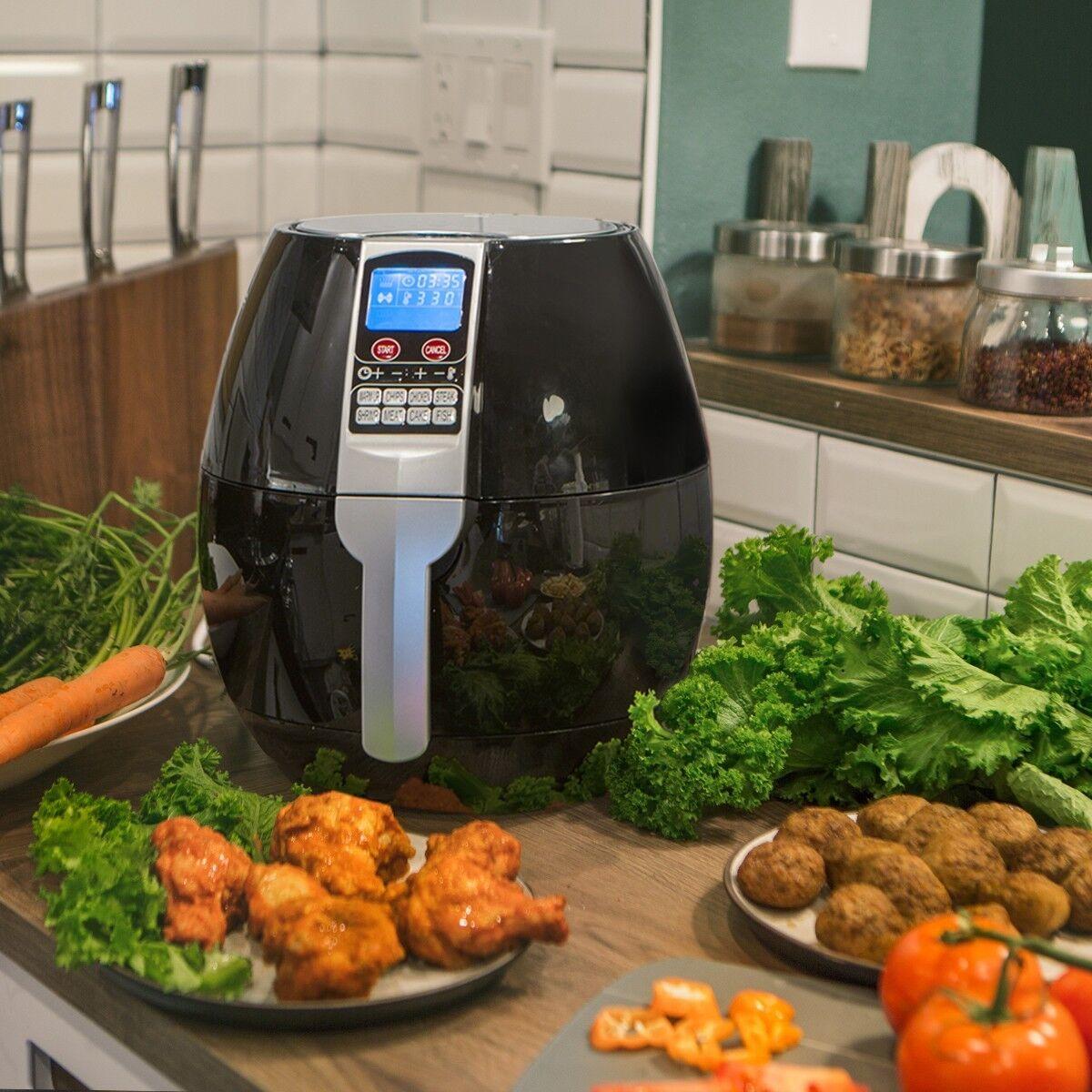 3.7QT 1500W Electric Air Fryer cooker 8 Cooking Menu Setting Digital Display