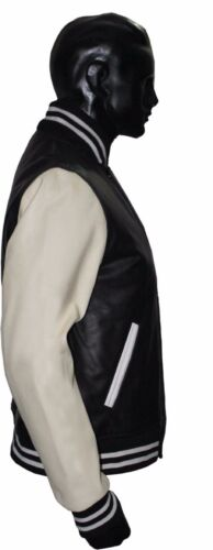 Nero BIANCO PURO REALE in Pelle VARSITY Letterman COLLEGE Bomber