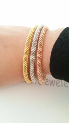 925 Solid Sterling Silver Tri Color Diamond Cut Popcorn Maille Gourmette Bracelets