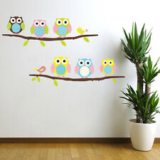 Colour Owl Birds Branch Wall Decal Removable Stickers Kids Nursery Art Mural
