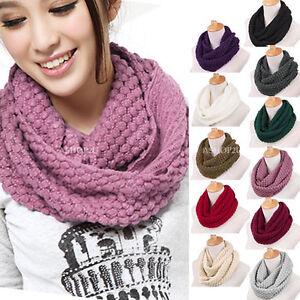 New-Women-Girls-Knitted-Long-Wool-Circle-Scarf-Shawl-Wrap-Neck-Warmer