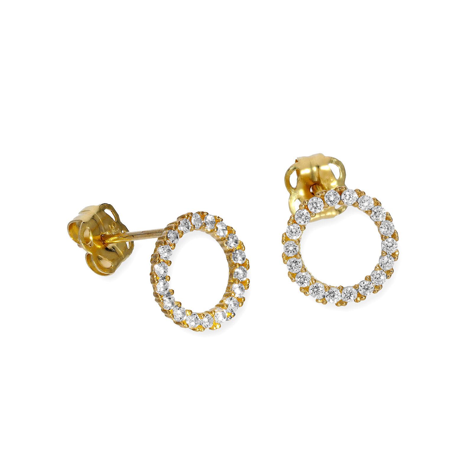 Real 375 9ct gold & Clear CZ Crystal Karma Circle Stud Earrings Wheel Eternity