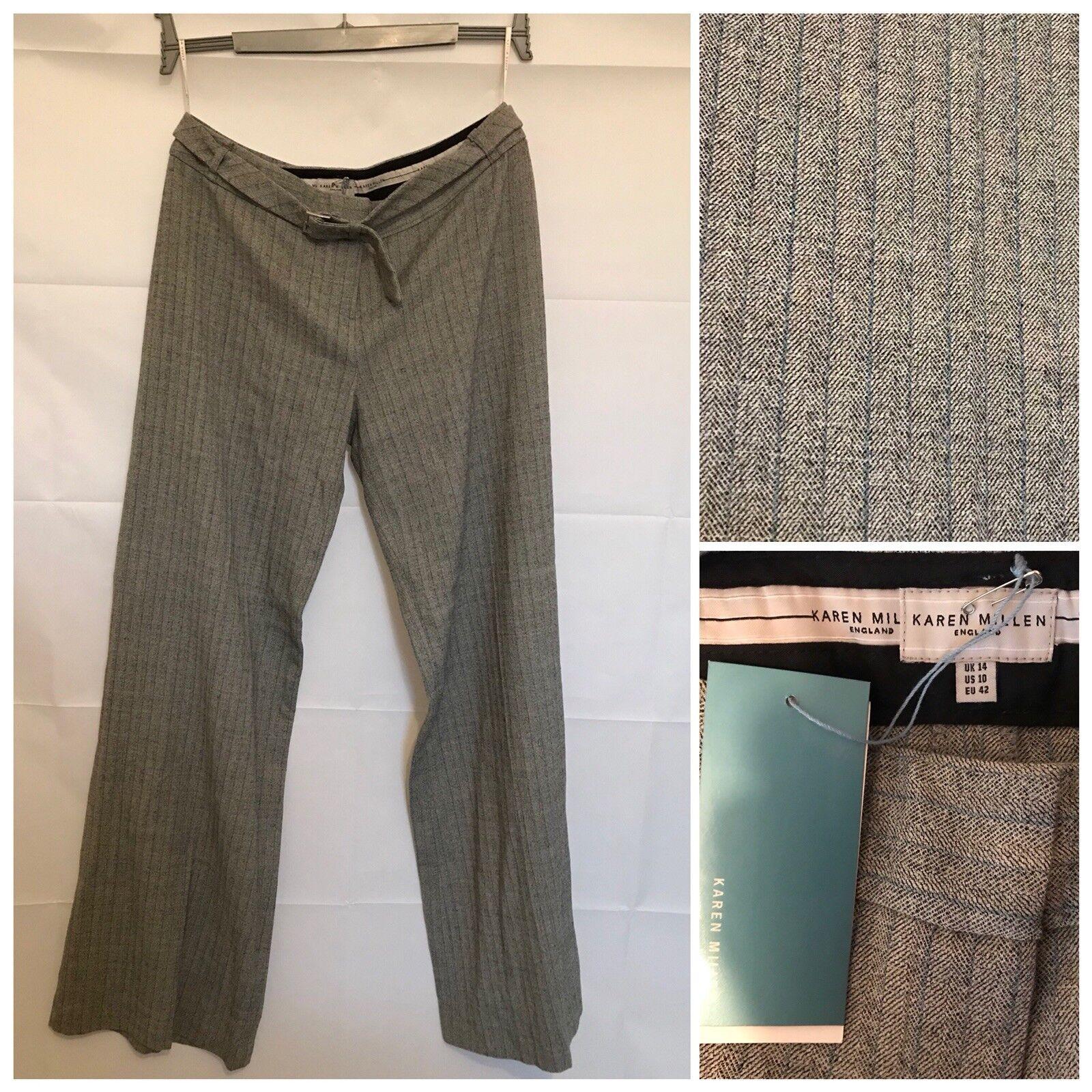 Karen Millen Trousers Größe 14 braun grau Wool Warm Straight Leg Brand New Tags