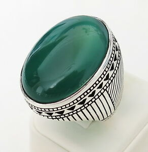Handmade-Big-Face-Natural-Green-Agate-Stone-925-Sterling-Silver-Men-039-s-Ring