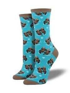 Bright-Blue-Otter-Socks-Ladies-Girls-Cute-Otters-Christmas-Santa-Gift-Socksmith
