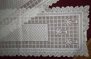 Details About Lg White Lace Dresser Scarf Table Runner W Palm Tree Design 14 X 74 Rectangle