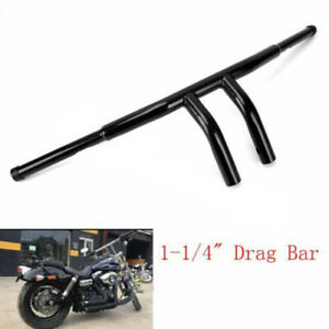 Fat-1-1-4-034-Black-7-5-034-Rise-Pullback-T-Bars-Handlebars-Drag-For-Harley-Motorcycle