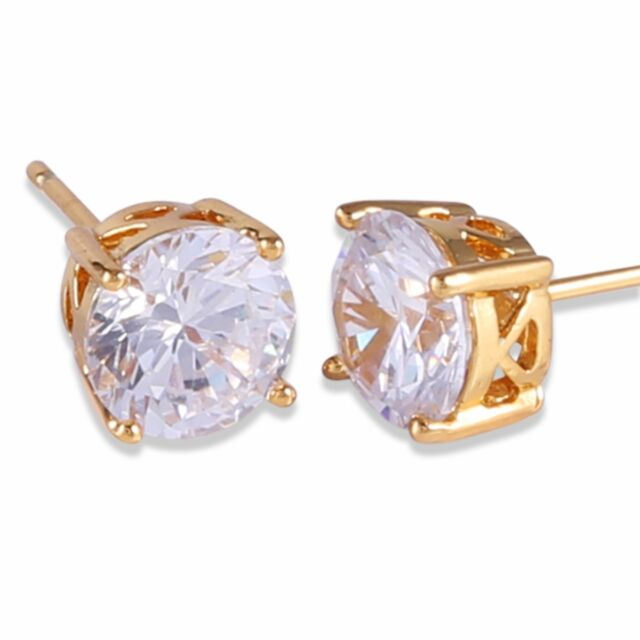 HUCHE 24K Yellow Gold Filled Clear Sapphire Square Diamond Gem Earrings Studs