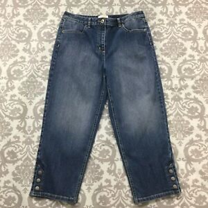 Talbots-Womens-Jeans-size-10-Medium-Wash-Capris-Cropped-Cotton-Stretch-Straight