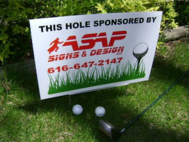"""18 Custom GOLF TOURNAMENT OUTING, Hole Sponsor Signs 12x18"""" with stakes"""