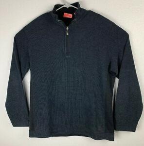 Tommy-Bahama-Reversible-Quarter-Zip-Black-Pullover-Sweater-Mens-L-Large