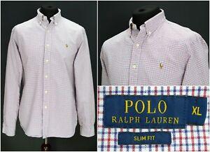 Mens-Polo-Ralph-Lauren-Shirt-Long-Sleeve-Slim-Fit-Multicolor-Cotton-Check-XL