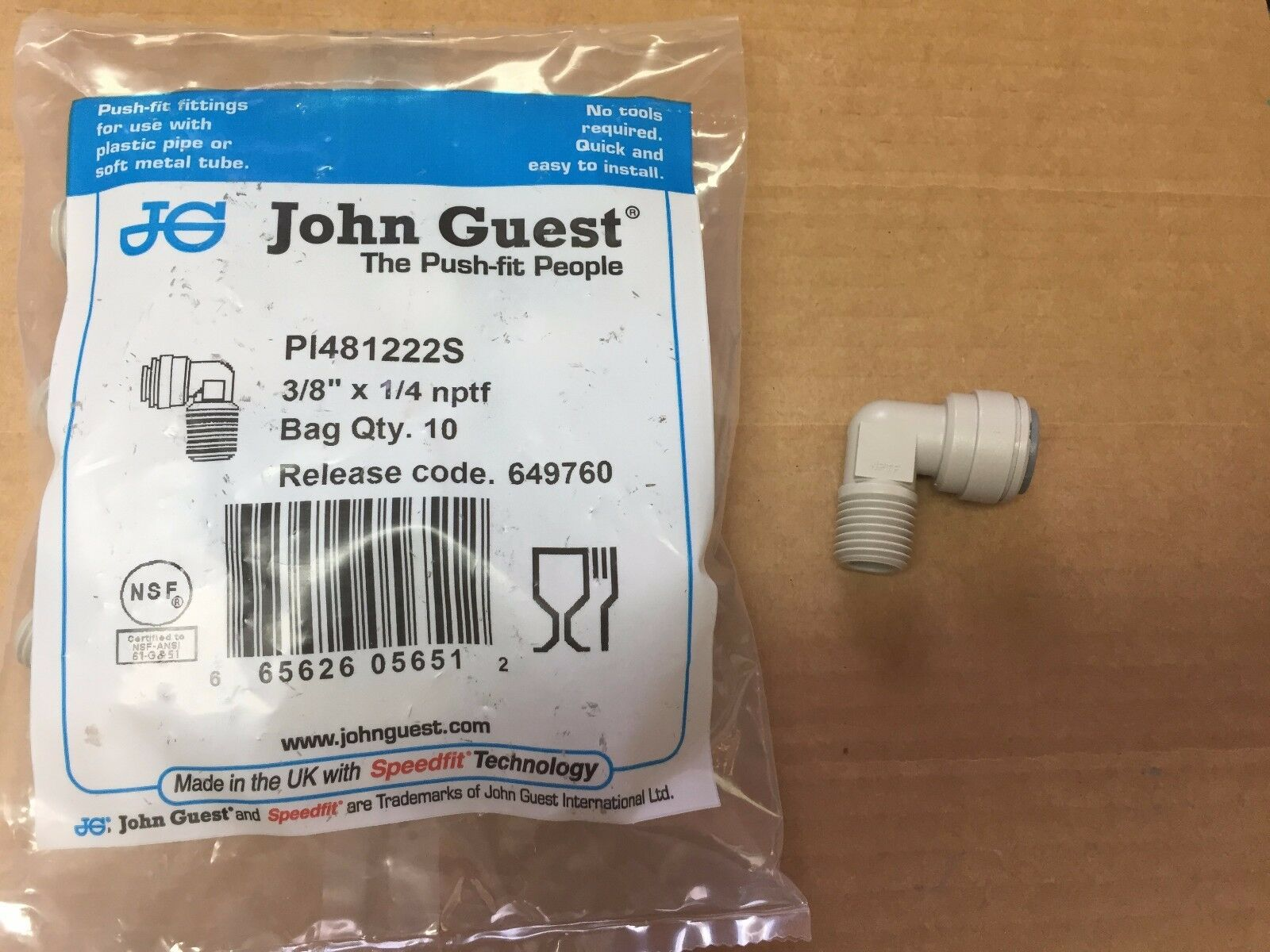 John Guest Pi 481222 S Elbow Fixed Pk10 4hn28 For Sale Online Ebay