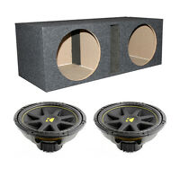 2) Kicker C15 15 1200w Dual 4-ohm Car Audio Subwoofers + Dual Vented Sub Box
