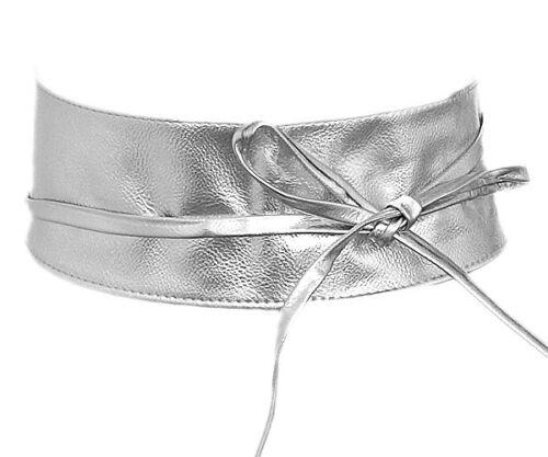 Damen Gürtel Leder Silber Glänzend Taillengürtel Wickelgürtel Bindegürtel SA-46