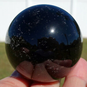 Genuine-Black-Morion-Smokey-Quartz-Crystal-Sphere-Smoky-with-Rainbows