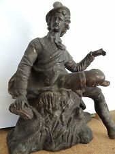 BRONZE STATUE ONLY FROM A NEW HAVEN CLOCK COMPANY MANTEL CLOCK FIGURAL 1900'S