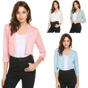 Women-Casual-Front-Open-3-4-Sleeve-Solid-Short-Sexy-Regular-Fit-Cardigan-CLSV