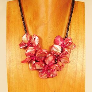 16 Cherry Red Flower Shell and Seed Bead Handmade Necklace Choker