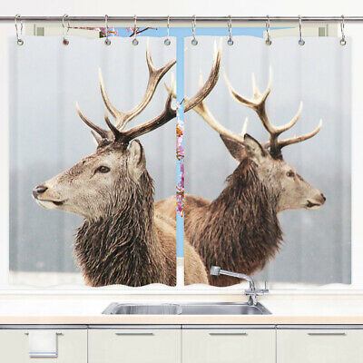 Nature Wildlife Deer Window Treatments For Kitchen Curtains 2 Panels 55x39inch Ebay