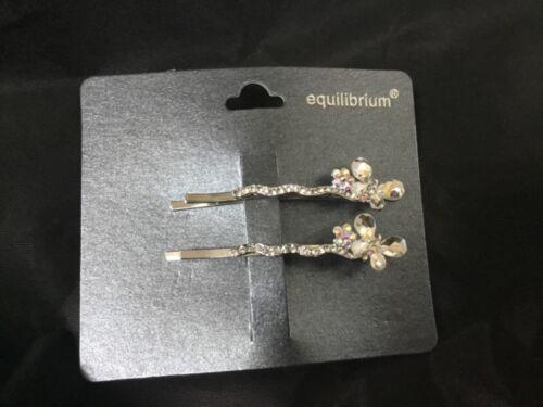 Equilibrium Wedding Diamante Butterflies Hair Grips Slides Set Of 2 Butterfly