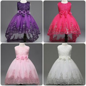 7449bdb843e Flower Girl Bow Princess Dress Baby Kids Party Wedding Bridesmaid ...
