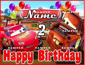 Personalized edible cake toppers FREE SHIP in Canada NAME//AGE on EMBLEM CARS