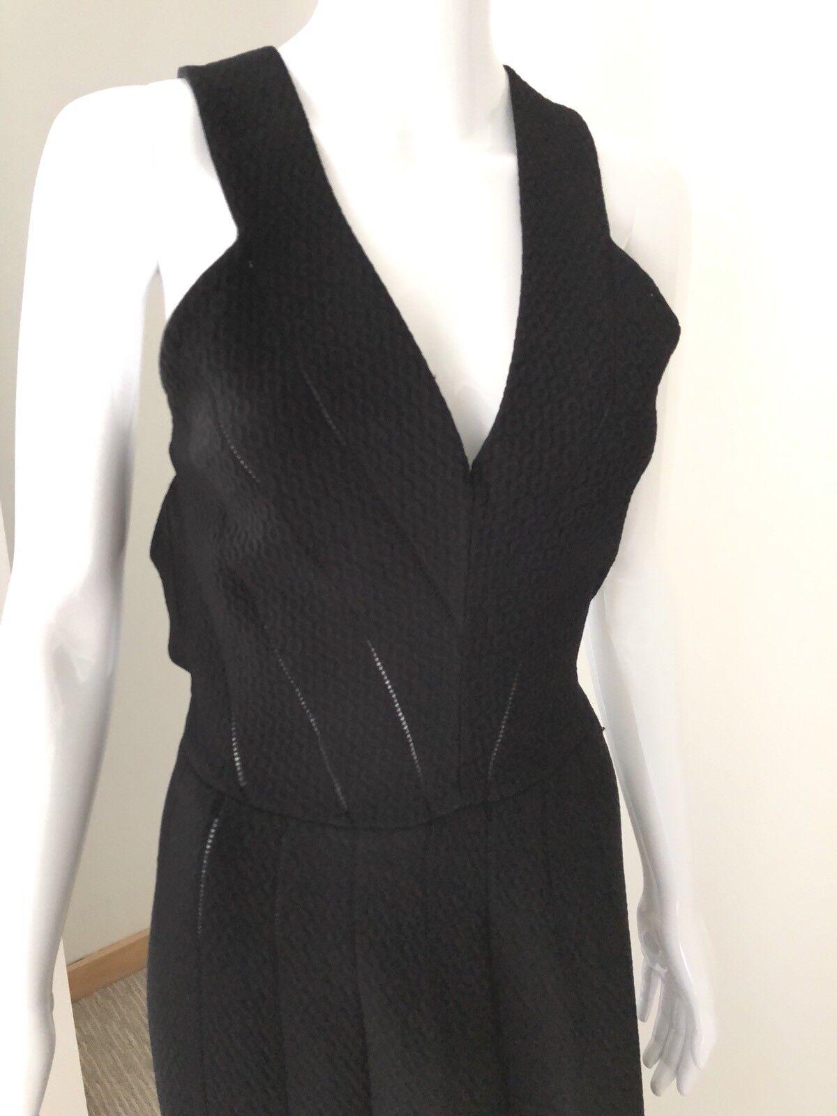 Nouveau 3570   Alaia Noir Texture Tricot Sans Manches V-cou Robe de Sirène Taille 42, 6