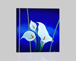 Quadri moderni astratti dipinti a mano olio su tela blu for Fiori dipinti a olio