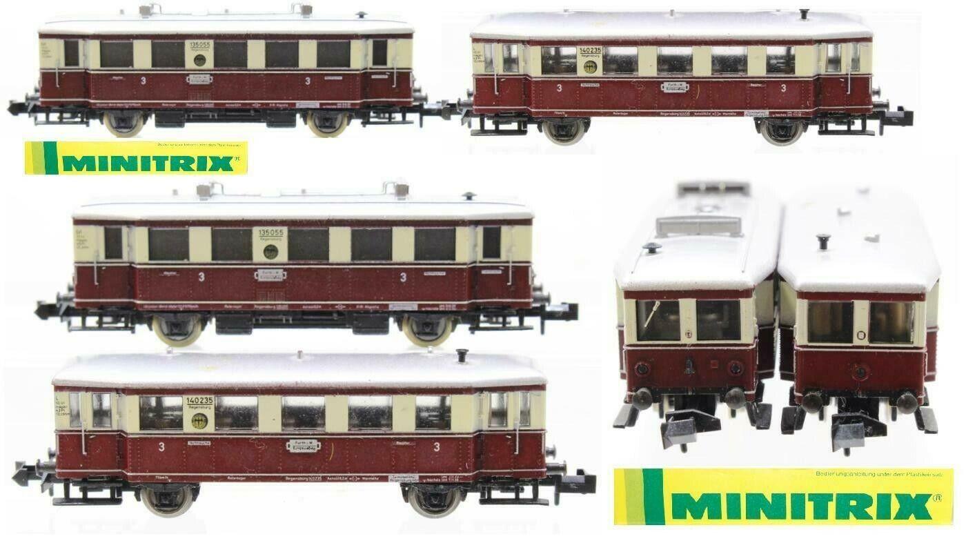 Minitrix 2093 Vintage Set Locomotora Littorina Diesel Dr VT135+VB140 Escala N