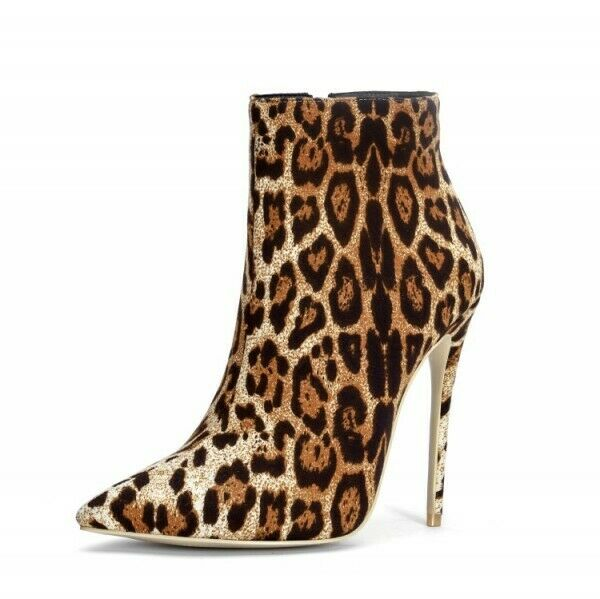 Women's ankle boots boots boots side zip high stiletto heels shoes pointed toe leopard Sexy 815960