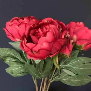Bunch of faux silk red peonies artificial silk flowers peony stem image is loading bunch of faux silk red peonies artificial silk mightylinksfo