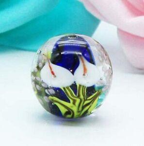 10pcs-handmade-Lampwork-glass-Beads-blue-Calla-Lily-flower-round-16mm