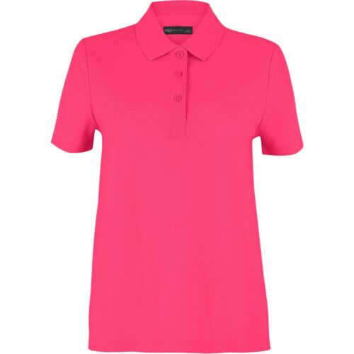 New M/&S Marks and Spencer Ladies Pure Cotton Short Sleeve Polo Shirts T-Shirt