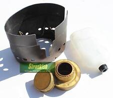 SWEDISH ARMY TRANGIA COOKSET WINDSHIELD WITH BRASS SPIRIT BURNER & FUEL BOTTLE
