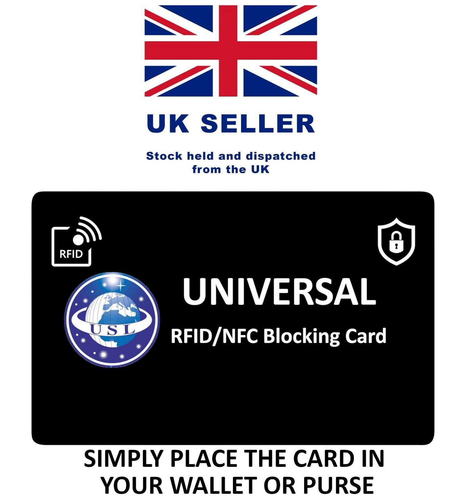 RFID Signal Blocking Card. Credit & Debit Card Blocker Protector - UK BASED