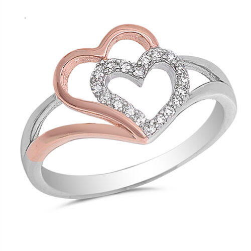 Sterling Silver .925 Fashion Women/'s CZ Rose Gold Double Heart Promise Ring 4-10