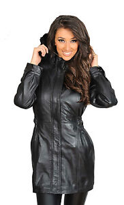 2140a2a34e0 Details about Womens Fitted Parka SOFT Leather COAT Mila TOP Quality Hooded  Zip Up Jacket NEW