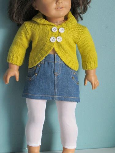 Sale STUDDED DENIM SKIRT WHITE LEGGINGS fits American Girl LIME SWEATER