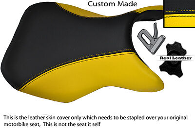 YELLOW & BLACK 11-12 CUSTOM FITS SUZUKI GSR 750 FRONT RIDER LEATHER SEAT COVER