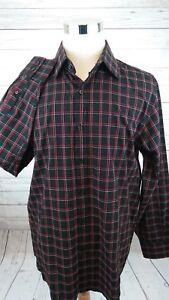Michael-Kors-Long-Sleeve-Plaid-Red-Black-Men-039-s-Button-Shirt-Size-XL