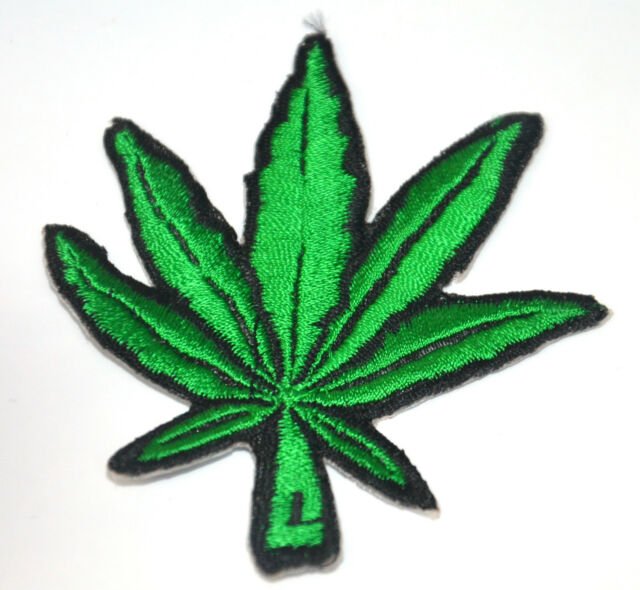 WEED GRASS GREEN LEAF  Embroidered Iron Sew On Cloth Patch Badge APPLIQUE