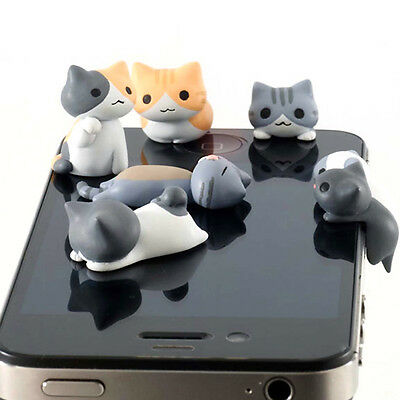 New 6pcs 3.5mm Anti Dust Earphone Cap Jack Plug Stopper For Mobile phone Cat