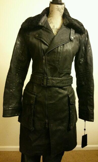 bf236ea4 Ralph Lauren Womens Black Label Denim Trench Coat Spanish Shearling Collar  Sz 6